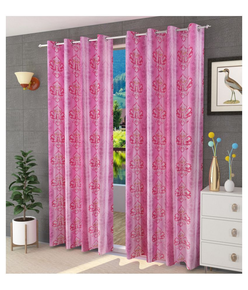 M.V HOMES Single Window Semi-Transparent Eyelet Polyester Curtains Wine