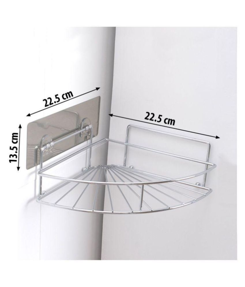 Snyter Magic Sticker Series Self-Adhesive Stainless Steel Kitchen/Bathroom Corner Wall Mounted Multifunctional Storage Rack Chrome Bathroom Accessories Basket Holder