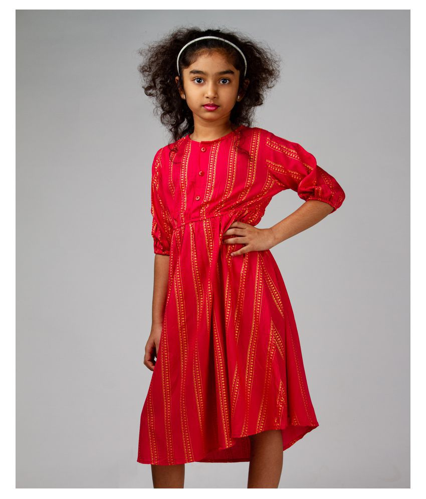 Fuchsia Gold Foil Printed Front Button Dress