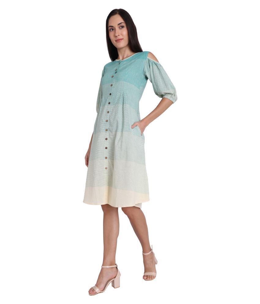 Leofab Cotton Green Skater Dress