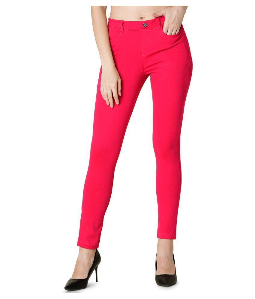 Newrie Cotton Jeggings - Pink
