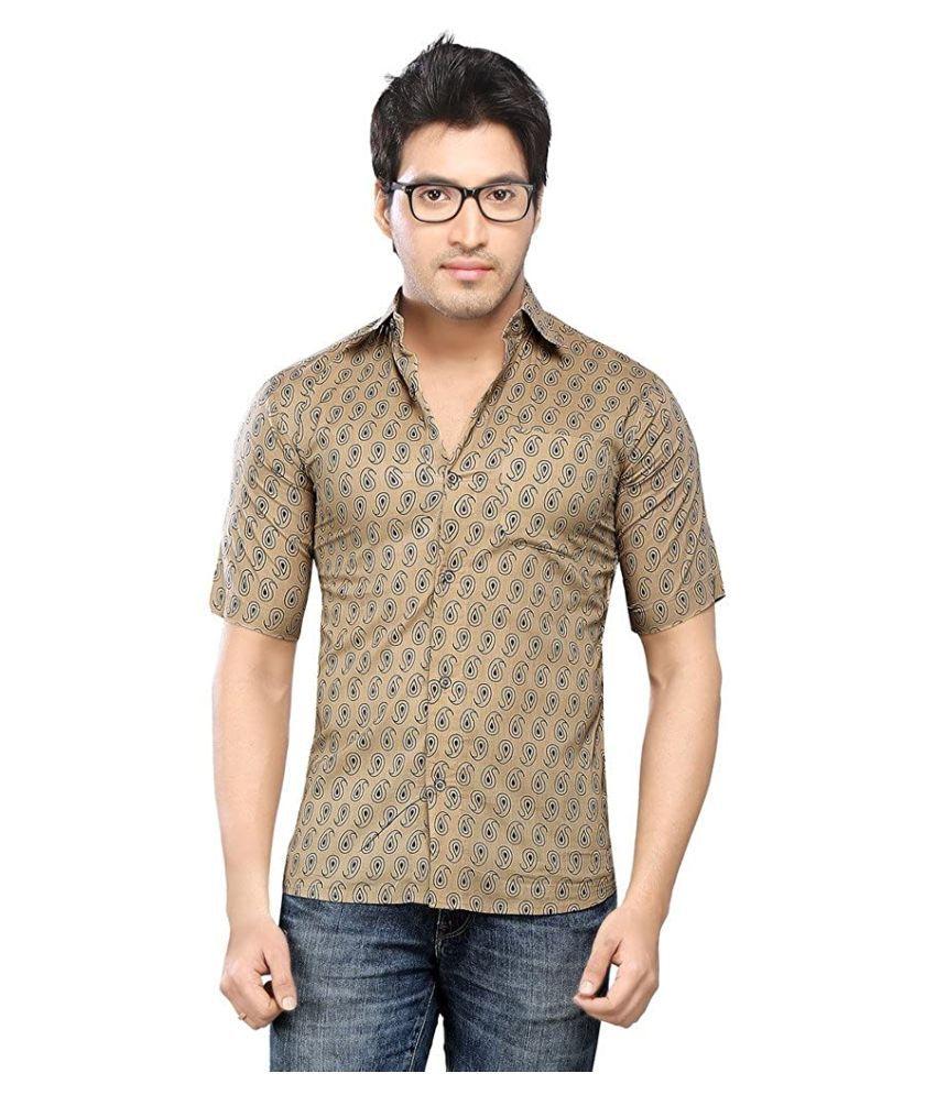 Vastra Vinod Cotton Blend Brown Shirt