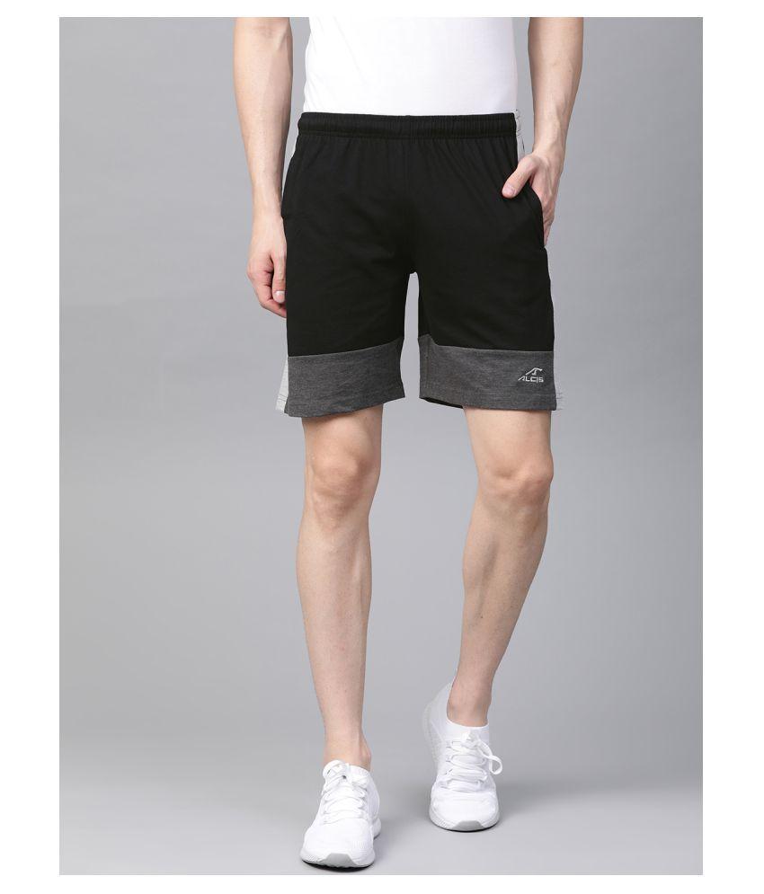 Alcis Black Cotton Outdoor & Adventure Shorts