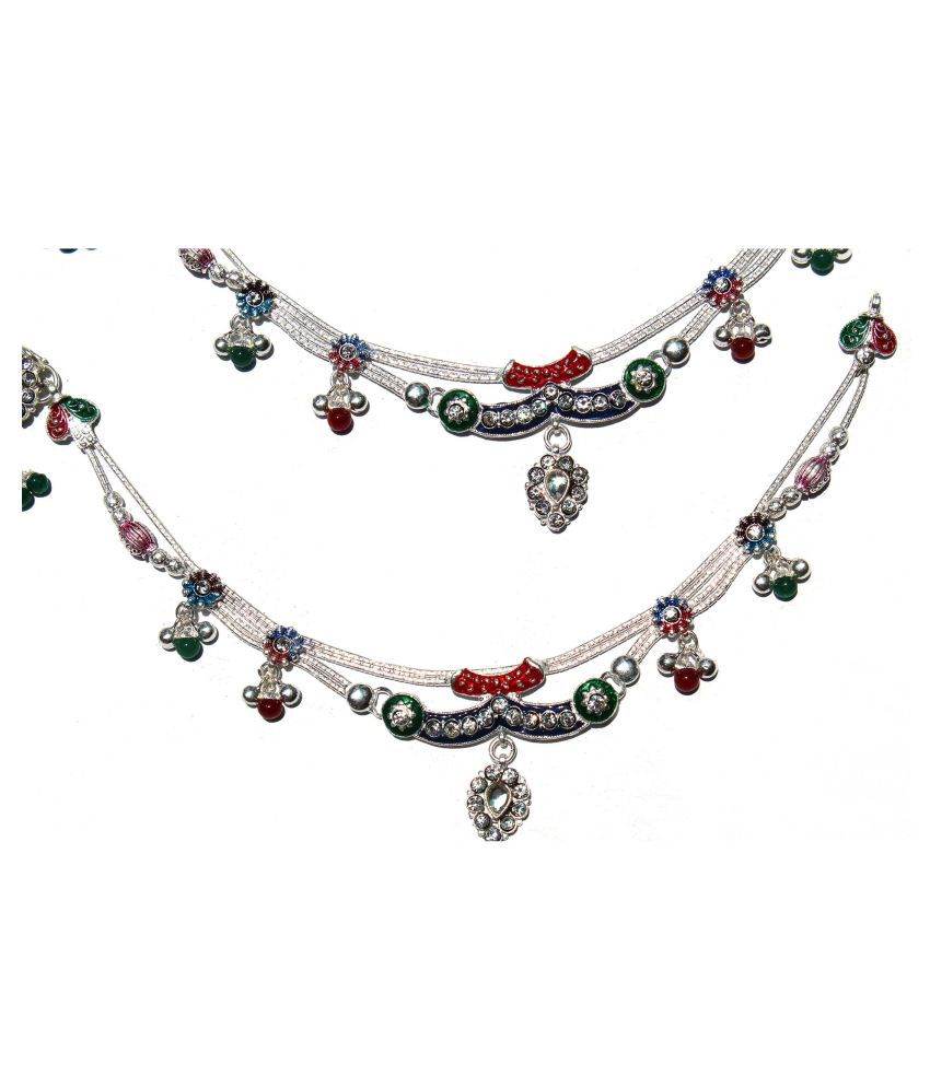 R K JEWELLERS- Pure Silver Fancy Multicolour Floral Design Payal or Anklet 10.5 inches