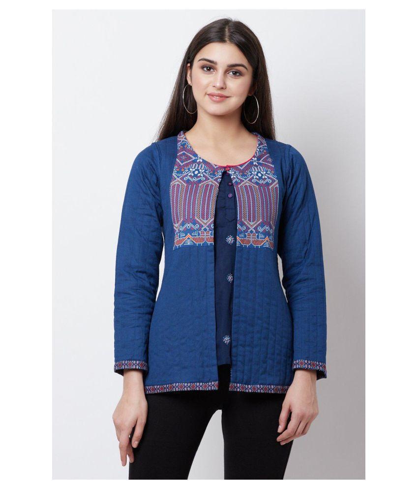 Rangriti Cotton Blue Ethnic Jacket