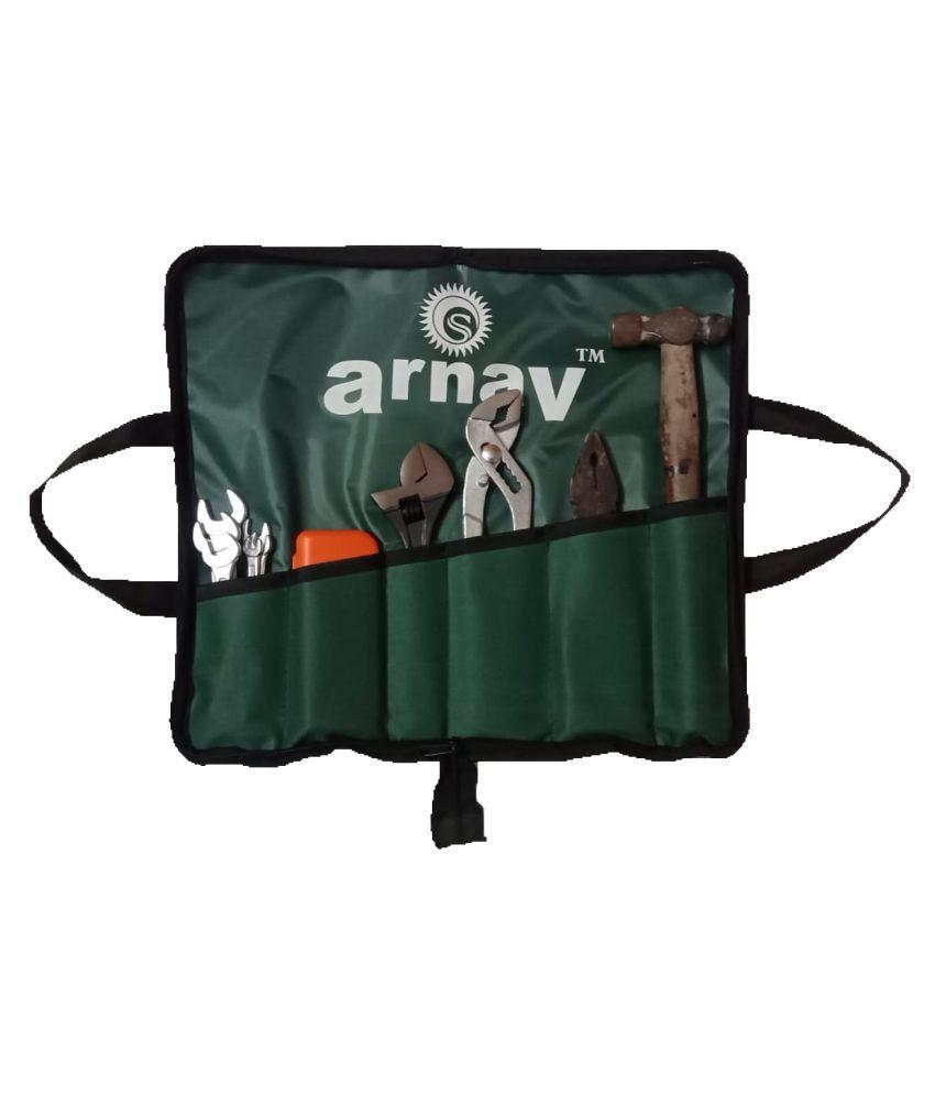 Arnav Universal Tool Kit Set for Home/Garage/Car/Bike/Industry (Set of 6 Items) Contains doe Spanner Set, Screwdriver Set + Combination Plier + Adjustable Spanner + Slip Joint Plier+ Ball Pain Hammer