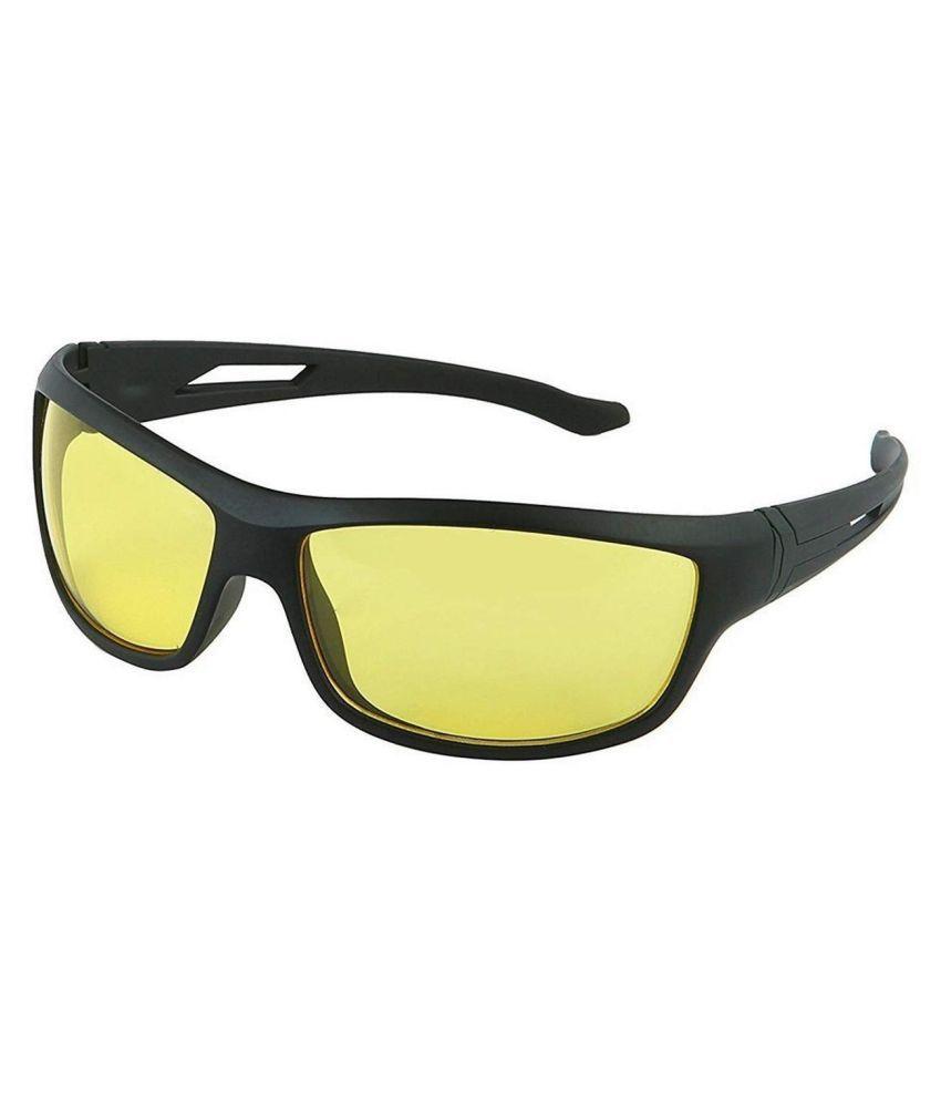 Synbus Black Frame Yellow Shade Lense Night Vision Biker Sports Sunglasses for Men & Women Set of 1\n