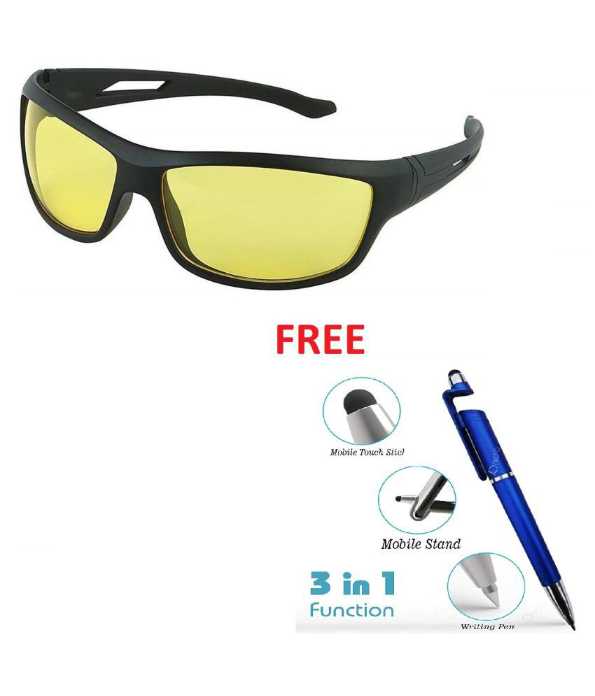 Tom Martin UV Protected Sunglasses Night Driving Glasses -Hector - Sports Wrap- Matte Black (Men - Translucent Yellow Lens)  With Free 3 In 1 Wipe Pen