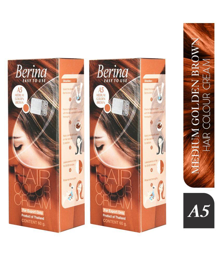 Berina A5 Medium Brown Semi Permanent Hair Color Golden Blonde 60 g Pack of 2