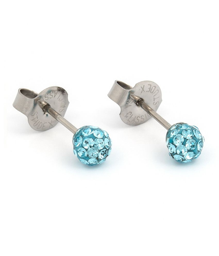 Studex System75 Sterilized 316L Surgical Stainless Steel 4.5MM Fireball With Aquamarine Crystal Ear Stud