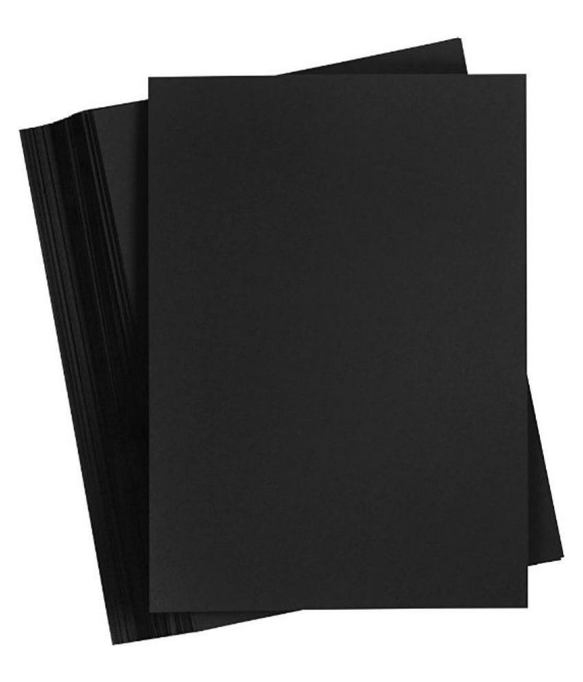 Snow Crafts SINGLE UNRULED A4 Coloured Paper 130 GSM PACK OF 50 BLACK SHEETS