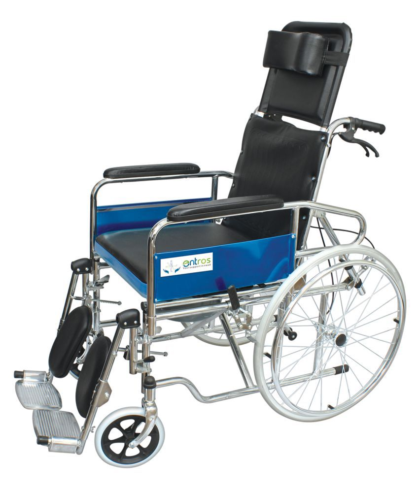 entros Recliner Wheelchair With Soft Commode Seat Manual Wheel Chair