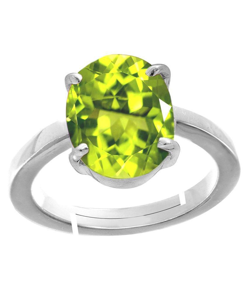 Laxmi Gems 11.25 Ratti Deluxe Quality Natural Peridot Stone silver Plated Adjustable Ring (Free Size Anguthi) 100% Gemstone By Lab Certified(Top AAA+) Quality For Unisex