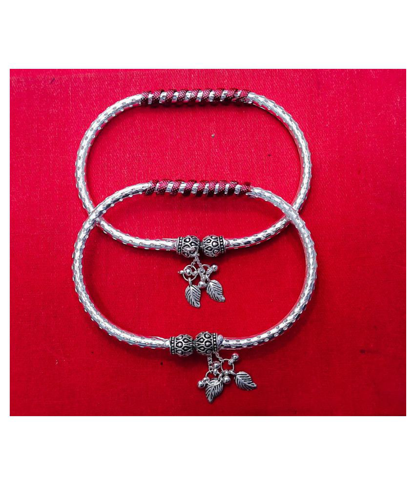 Oxidised German Silver Metal  Kada Anklet for Women's and Girl