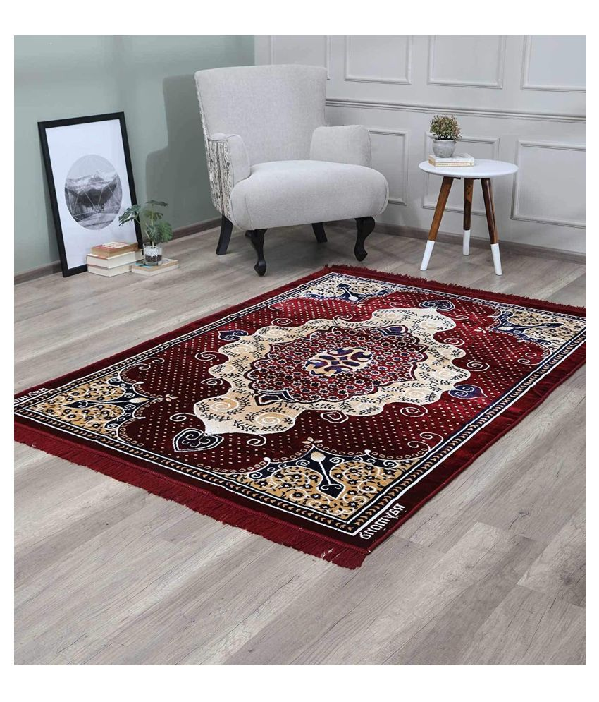 Raymond Home Maroon Polyester Carpet Floral 5x7 Ft