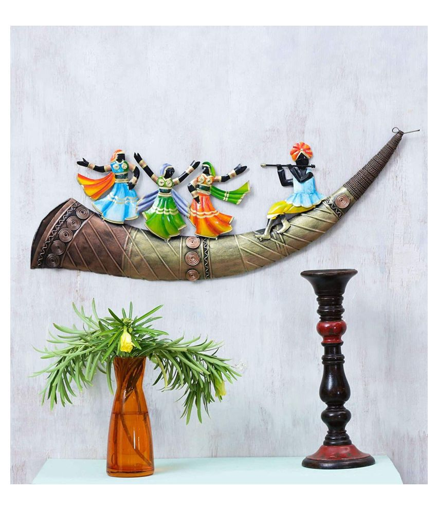 ANITHA DECORS Iron LORD KRISHNA MUSICAL TUSK Wall Sculpture Assorted - Pack of 1