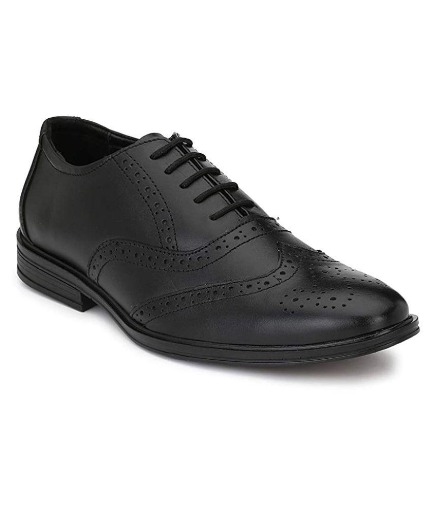 SIMATA Brogue Genuine Leather Black Formal Shoes