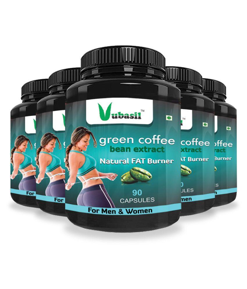 VUBASIL Herbal Green Coffee Extract Fat Burner Capsule 450 no.s Pack Of 5
