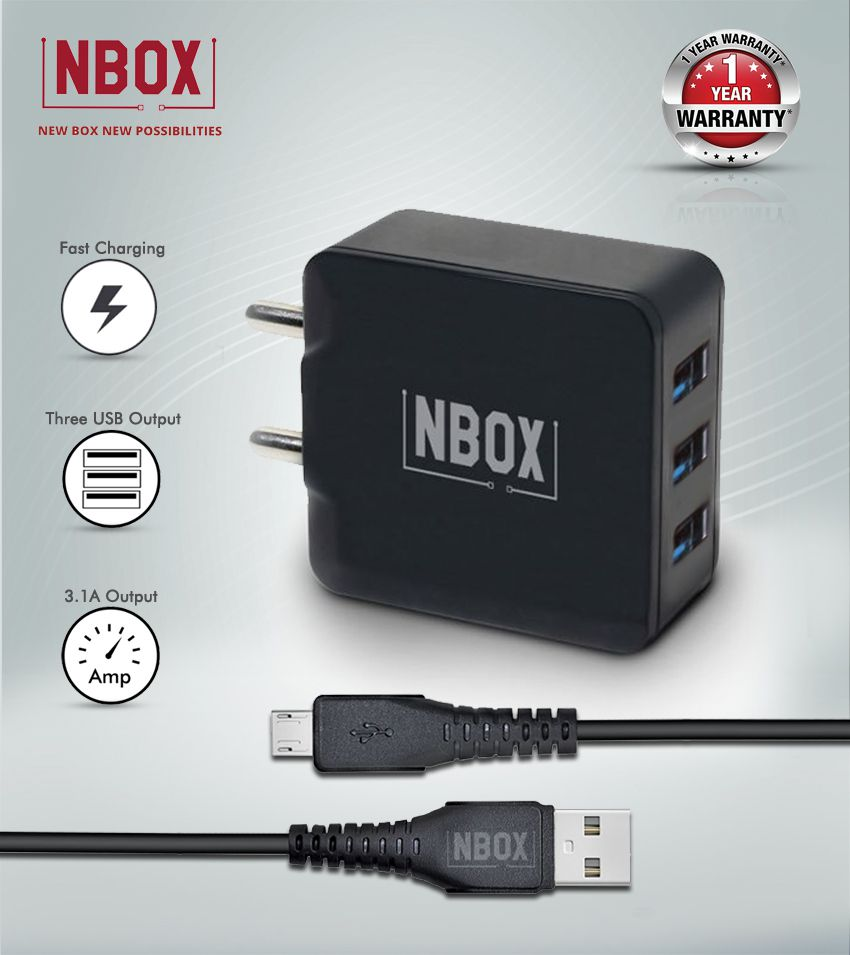 NBOX 3.1A Triple USB Fast Charging Travel Adapter with One Micro USB Data Cable Black