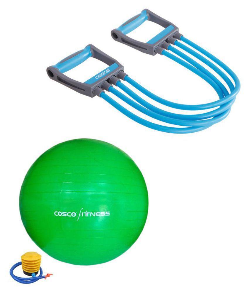 Cosco Fitness Kit  amp; Combo   1 Chest Expander  #034;Octane #034;, 1 Exercise Gym Ball 75 cm