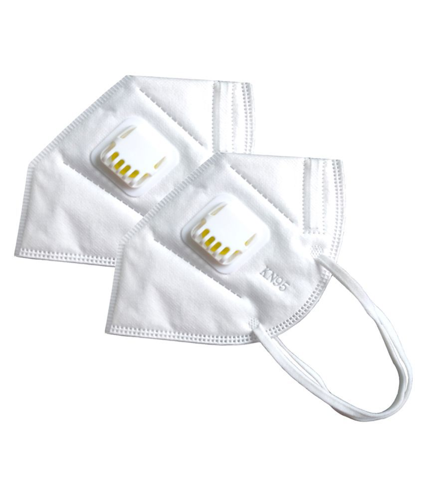 KN95 Smart Protection White Anti Pollution Mask for Men & Women with Ven Filter Valve (Pack of 2)