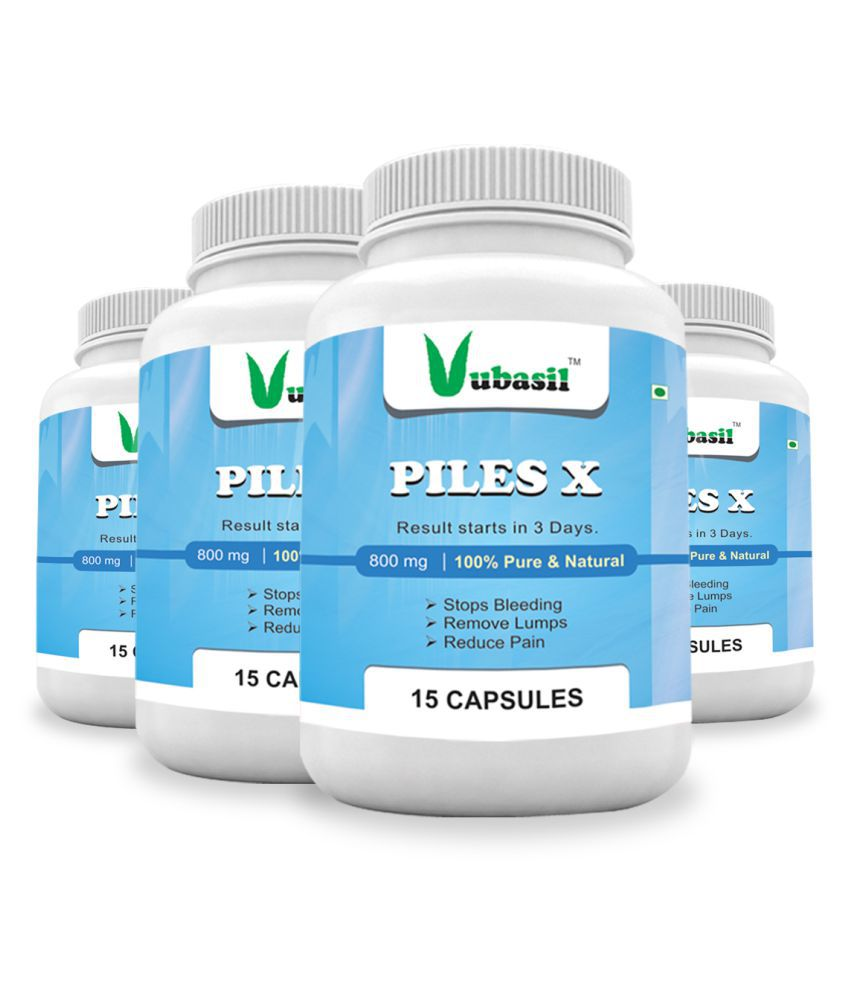 VUBASIL Herbal Piles Care Reduces Bleeding Pain Capsule 60 no.s Pack Of 4