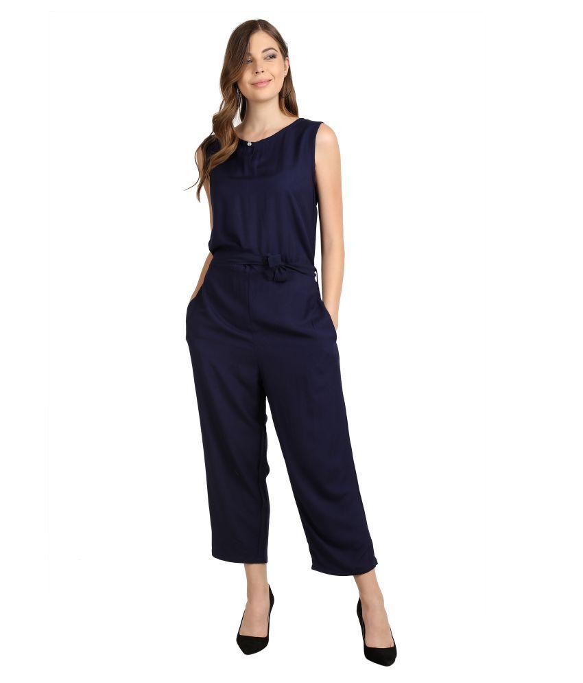 Curlx Fashion Navy Rayon Jumpsuit