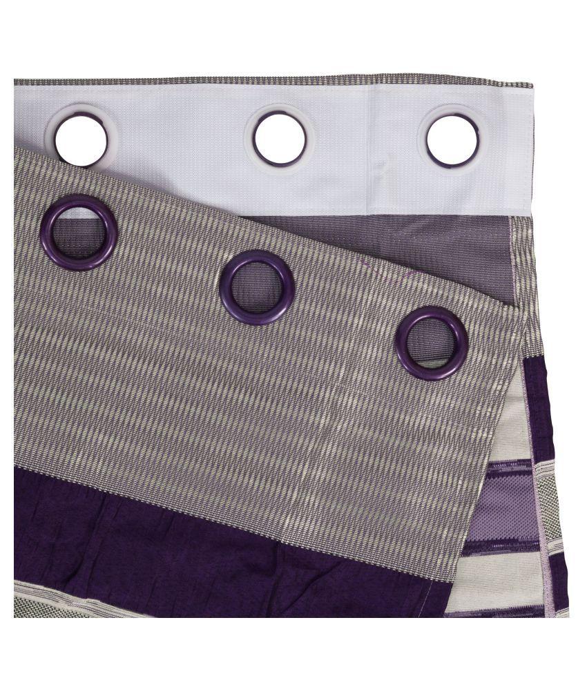 Story@Home Set of 2 Window Blackout Room Darkening Eyelet Jute Curtains Purple