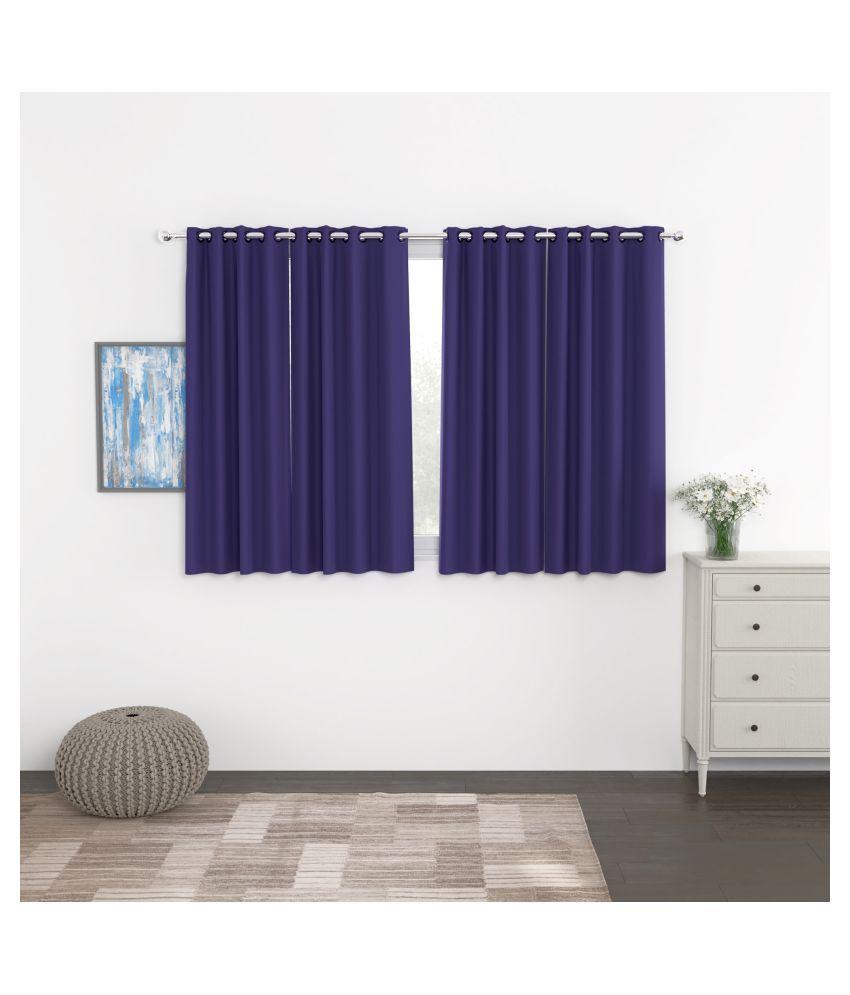 Story@Home Set of 4 Window Blackout Room Darkening Eyelet Silk Curtains Blue