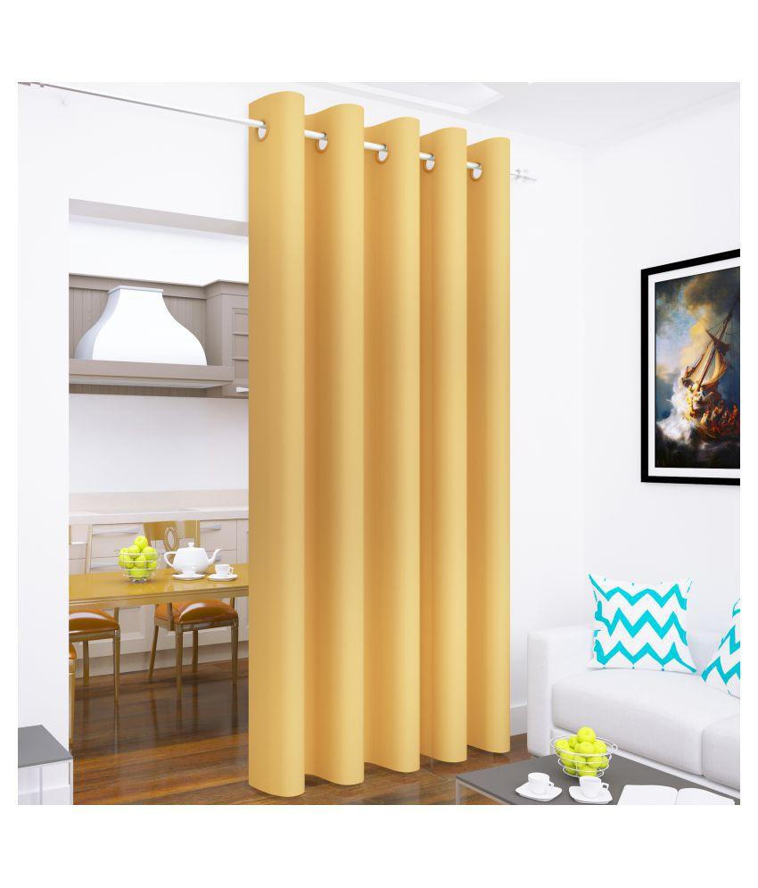 Story@Home Single Long Door Blackout Room Darkening Eyelet Silk Curtains Yellow