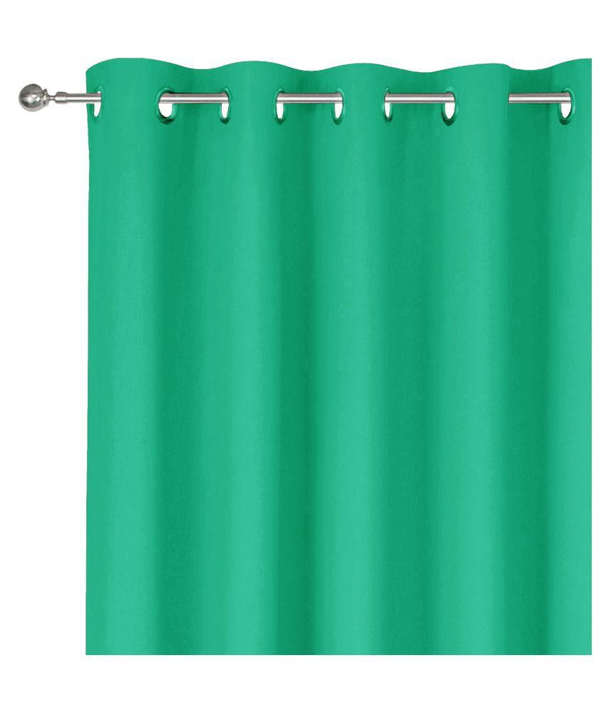 Story@Home Single Window Blackout Room Darkening Eyelet Silk Curtains Turquoise