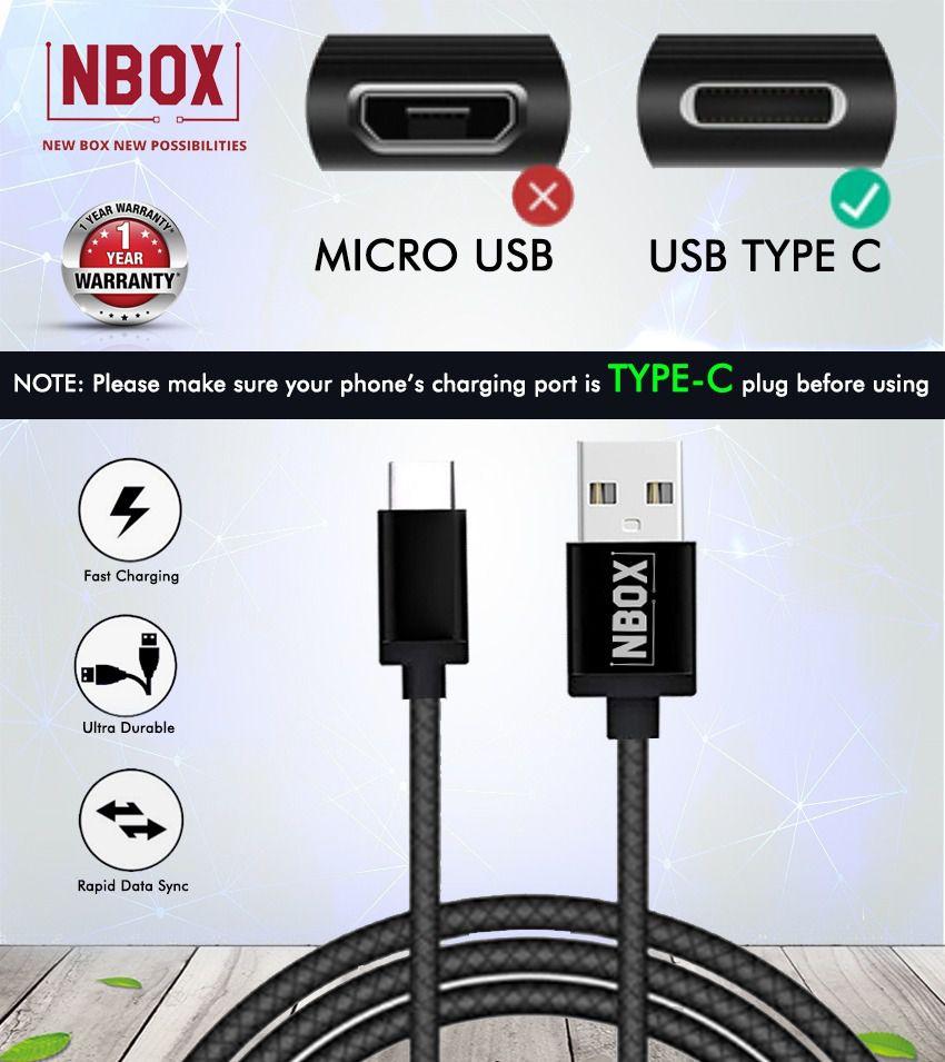 NBOX Type C Data Cable (1 Meter, Black)
