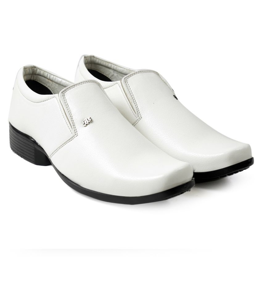 Global Rich Derby Artificial Leather White Formal Shoes