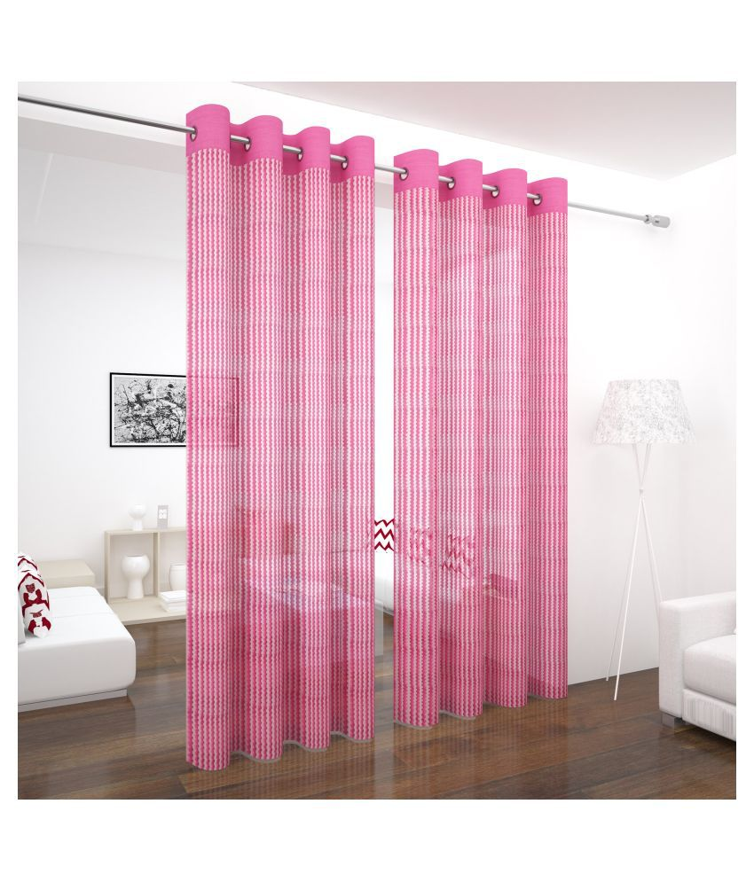 Story@Home Set of 2 Long Door Semi-Transparent Eyelet Polyester Curtains Pink