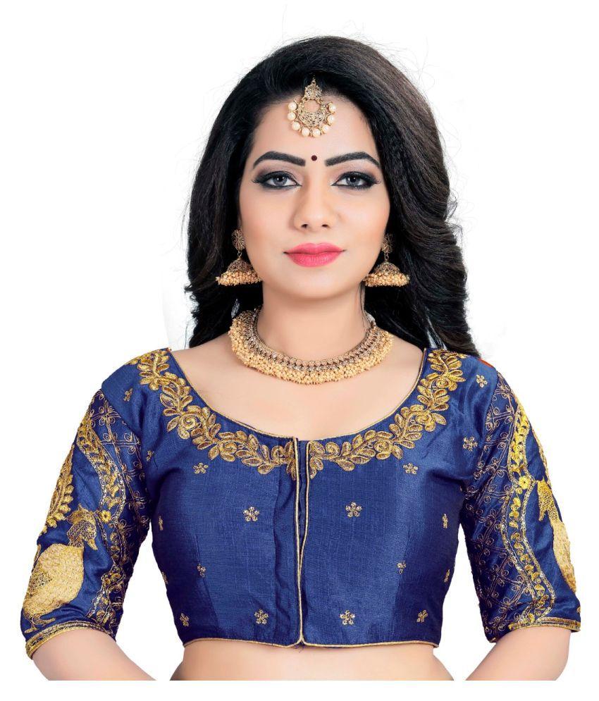 Women Blouse Navy Silk Semi Stitched Blouse