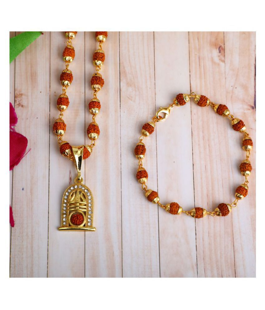 DIPALI TRISHUL WITH RUDRAKSH  Locket With Puchmukhi Rudraksha Mala AND BRACELET Gold-plated Brass,FOR MEN AND BOYS