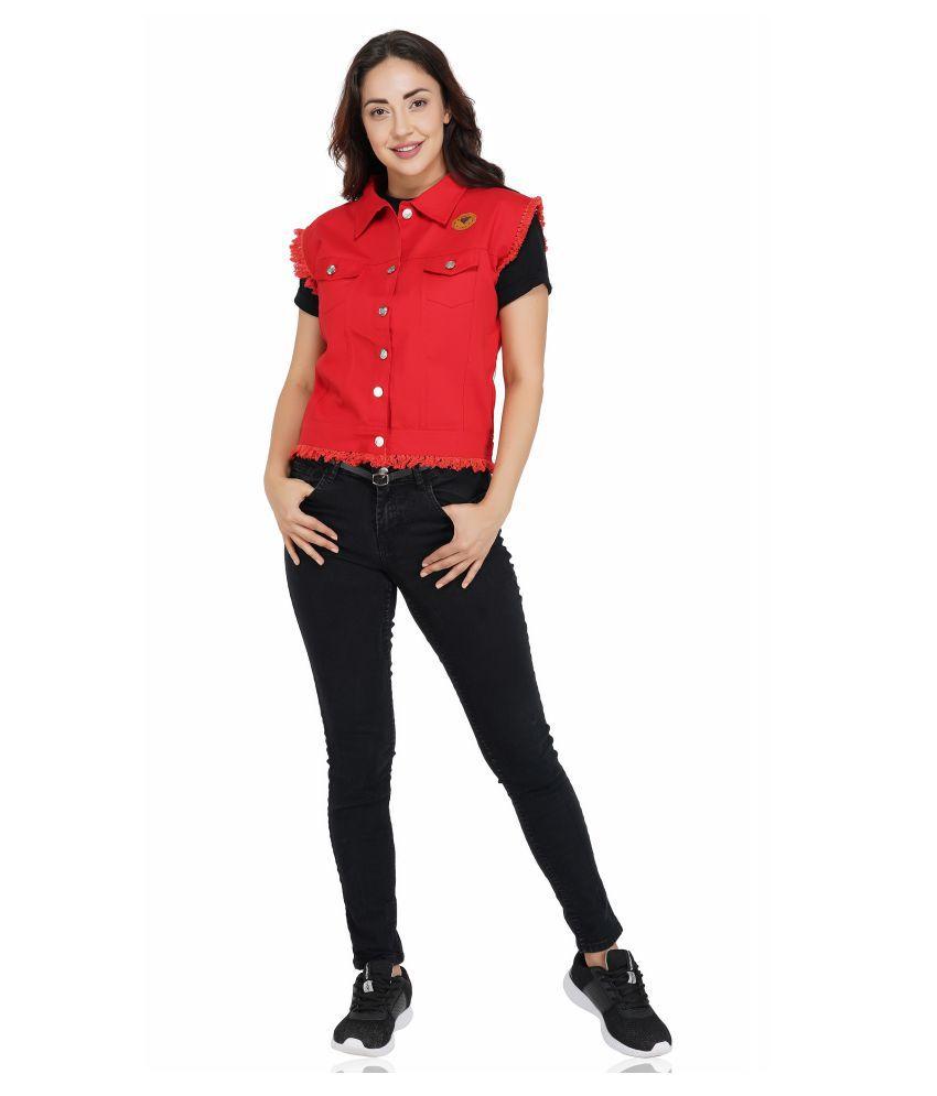 FineCreations Red Cotton Blend Regular Jacket