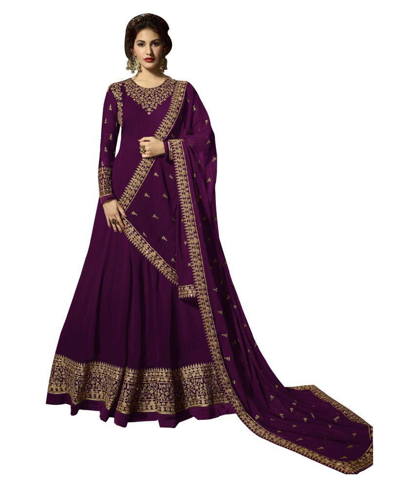 SHAFNUFAB Purple Georgette Gown
