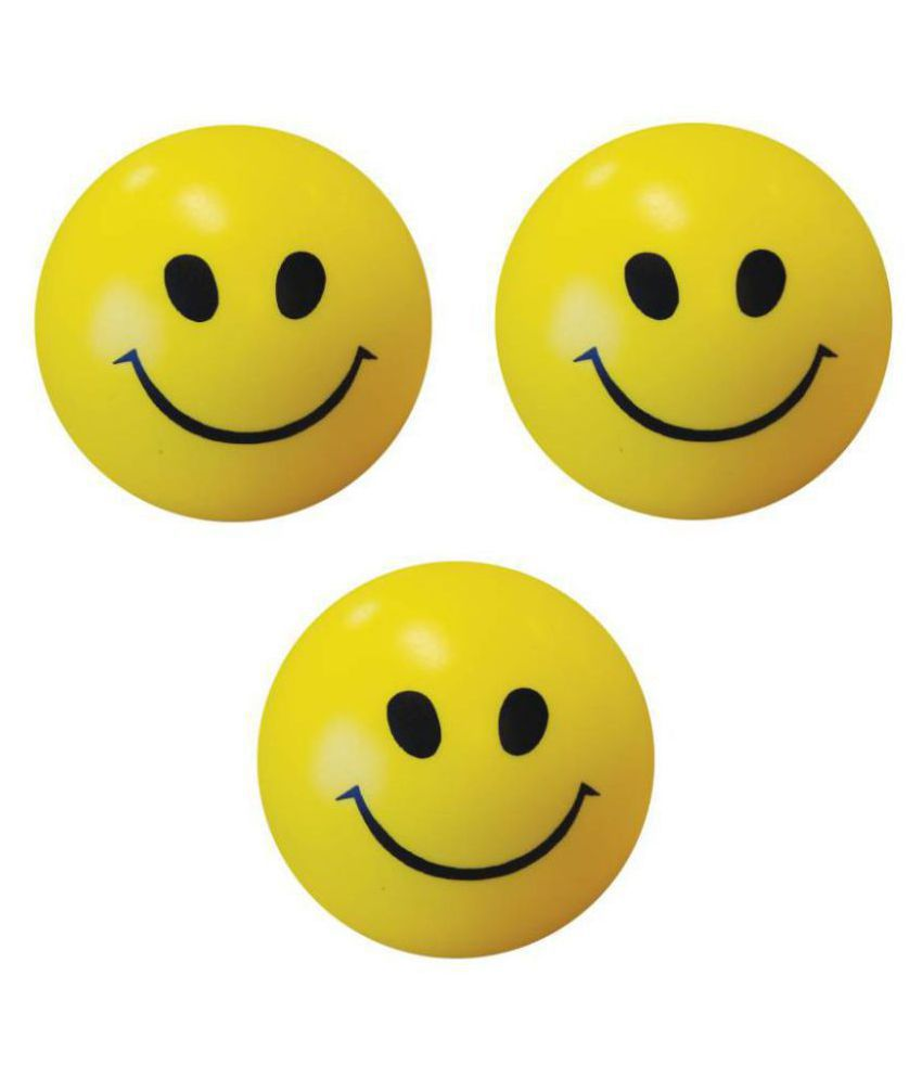 Smiley Face Squeeze Stress Ball   SET OF 3   3 inch  Yellow