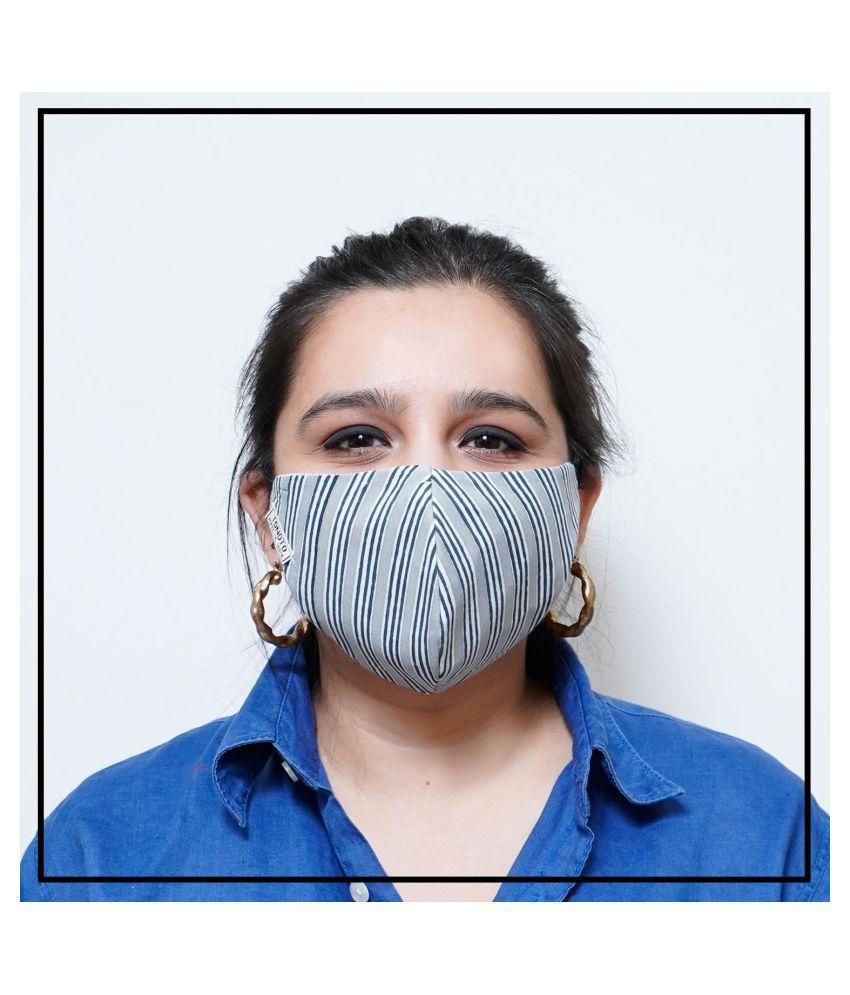TONOTO Reusable 100% Cotton Block Printed Face Cut Fit Mask