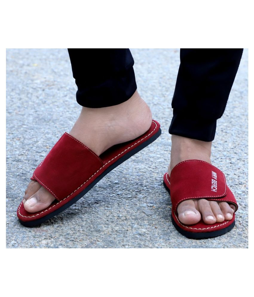 Way Beach Red Slide Flip flop