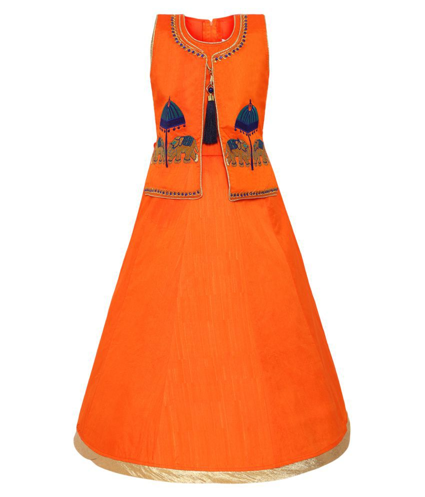 Aarika Girl's Silk Gown (Orange_3 - 4 Years)
