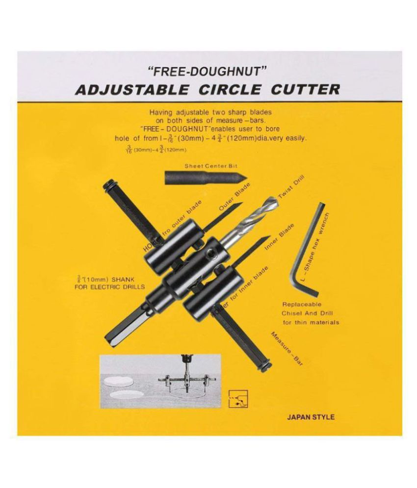 Rangwell - Adjustable Metal Wood Circle Cutter Kit Hole Saw Drill Bit DIY Tool 30-120mm