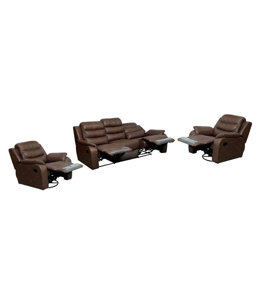 Amey Shine Recilner 3+1+1  Seater manual Brown PVC