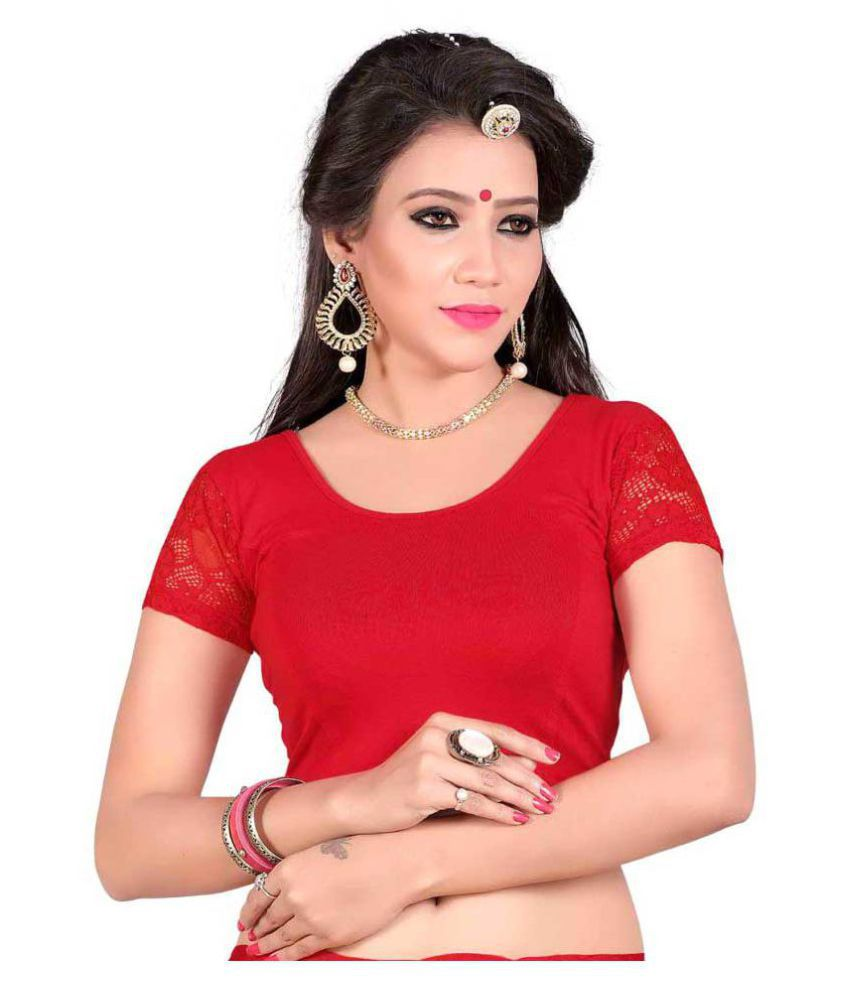 Bulbul Red Lycra Readymade without Pad Blouse