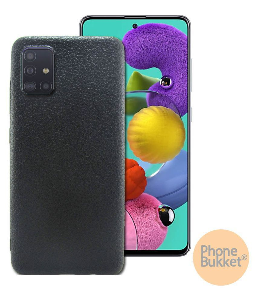 PhoneBukket Black Leather Finish Back Case Cover for Samsung Galaxy A51