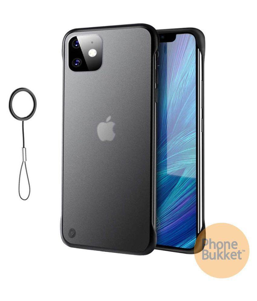 PhoneBukket UltraSlim Frameless Transparent TPU Hybrid Case for Apple iPhone 11 (Black)