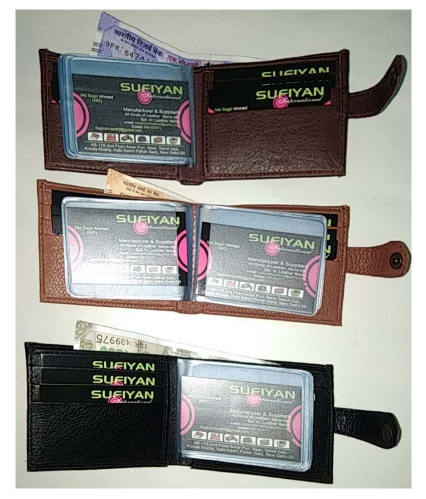 MSABL LEATHER Combo 3 Tan & Brown & Black Faux Leather Atm Wallet Pouchli Credit Faux Leather Tan Fashion Long Wallet
