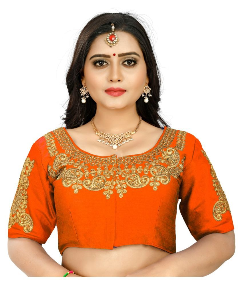 Women Blouse Orange Silk Semi Stitched Blouse