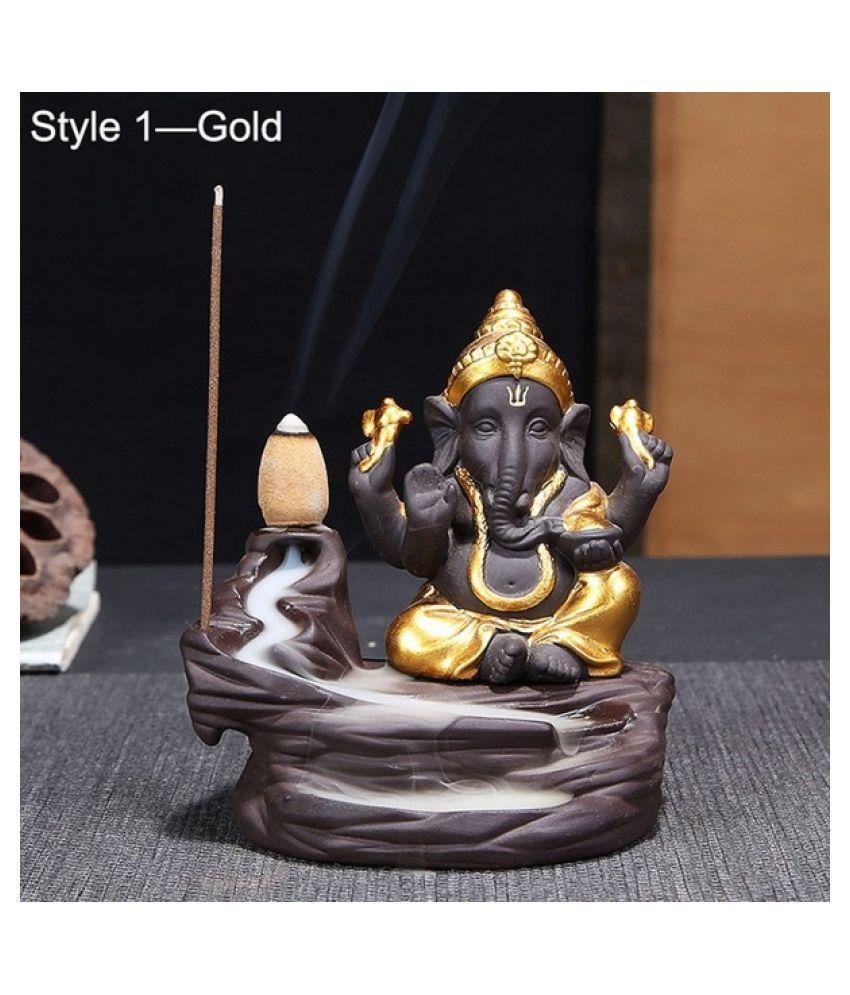 Yukti Gold Polyresin Monk Buddha Smoke Backflow - Pack of 1